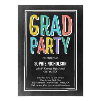 Big News Graduation Party Invitation Chalk