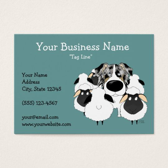 Big Nose Blue Merle Australian Shepherd Business Card