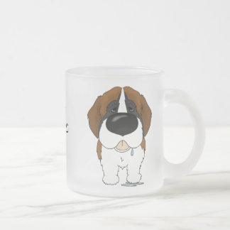 Big Nose Saint Bernard Frosted Glass Coffee Mug