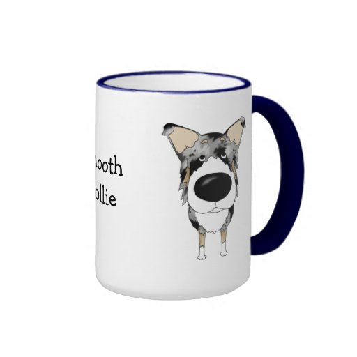 Big Nose Smooth Collie Ringer Coffee Mug
