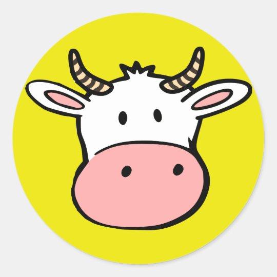 Big nosed cartoon cow classic round sticker