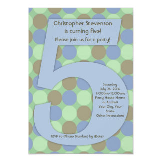 Big Number 5 Boy's 5th Birthday Party Card