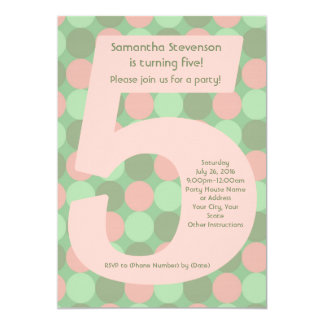 Big Number 5 Girl's 5th Birthday Party 5x7 Paper Invitation Card