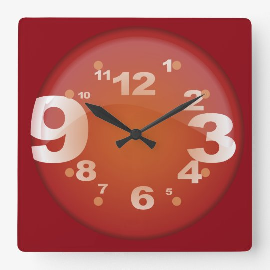 Big Numbers Wall Clock Red