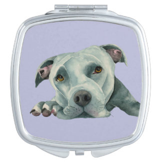 Big Ol' Head - Pit Bull Dog Watercolor Painting Travel Mirror