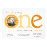 Big One with Photo Cutout Birthday Card - Orange