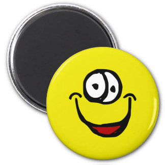 big open mouth cartoon smile face 6 cm round magnet