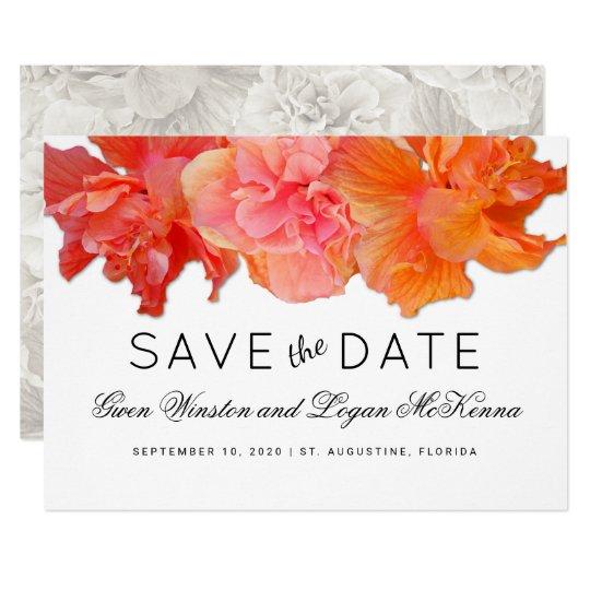 Big Orange Hibiscus Save the Date Announcement