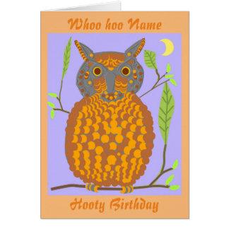 Big Orange Owl birthday card add name front