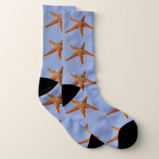 Big orange starfish pattern on light blue 1