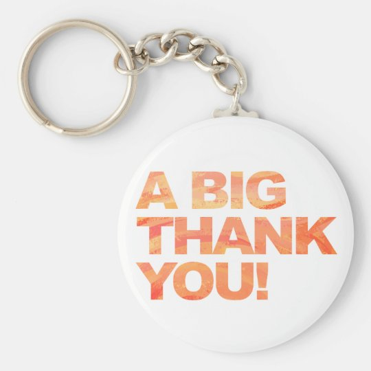 Big Orange Thank You Basic Round Button Key Ring
