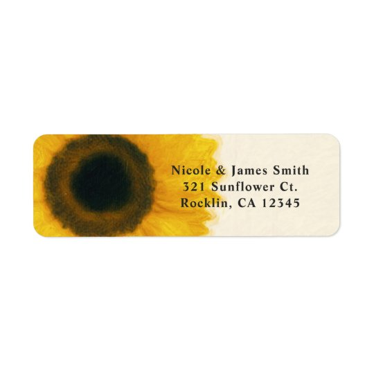 Big Painted Sunflower Rustic Country Invitation Return Address Label