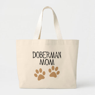 Big Paws Doberman Mom Large Tote Bag