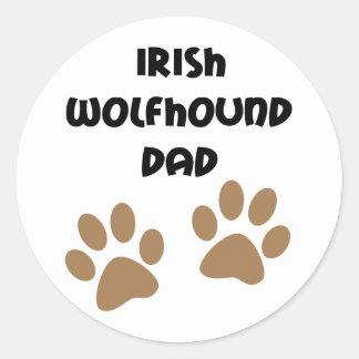 Big Paws Irish Wolfhound Dad Round Sticker