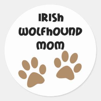 Big Paws Irish Wolfhound Mom Round Sticker