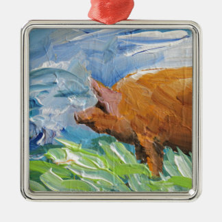 Big Pig gift Silver-Colored Square Decoration