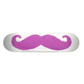 Big Pink and Blue Furry Mustache Skateboard Deck
