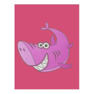 Big Pink Cartoon Shark Postcard