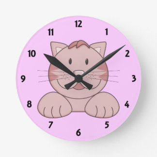 Big Pink Cat Childrens Learning Wall Clock