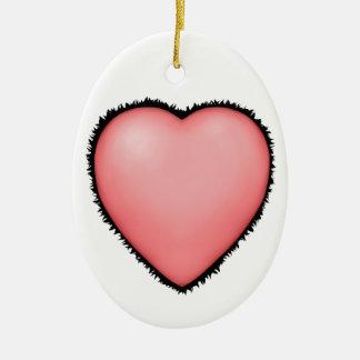Big Pink Fury Love Heart Christmas Ornament