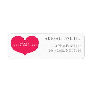 Big Pink Heart Valentine Return Address Labels