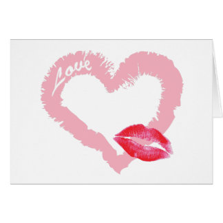 Big Pink Love Heart with Lips Greeting Card