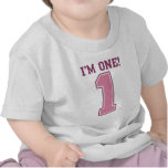 Big Pink Number One, Girl's First Birthday Tee Shirt