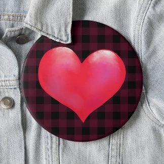 Big Pink Painted Heart | Buffalo Plaid Valentine 6 Cm Round Badge
