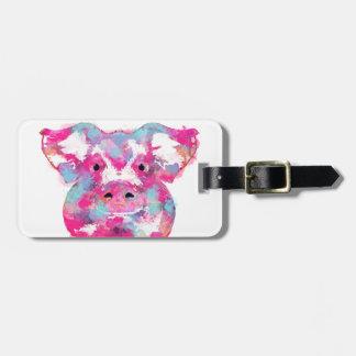 Big pink pig dirty ego luggage tag
