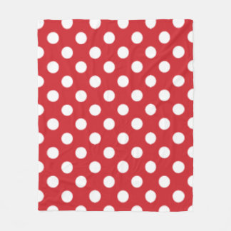 Big Polka Dot Pattern Fire Engine Red Fleece Blanket