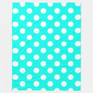 Big Polkadots Turquoise Blue Fleece Blanket