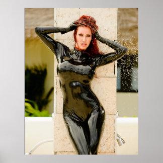 BIG POSTER -  BLACK LATEX CATSUIT - Bianca Beaucha