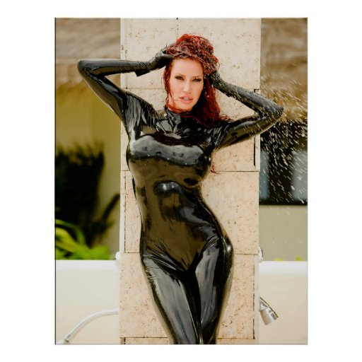 BIG POSTER - BLACK LATEX CATSUIT - Bianca