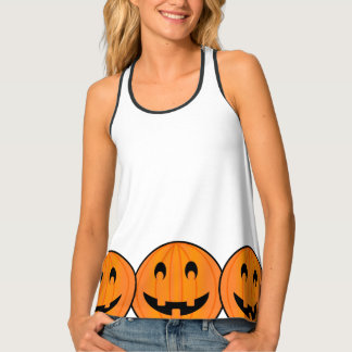 Big Pumpkins on White Background Halloween Tank Tank Top
