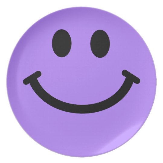 Big Purple Smiley Face Plate