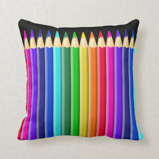 Big Rainbow Colored Crayon (Pencil) Design Cushion