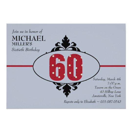 Big Red 60th Birthday Party Invitation