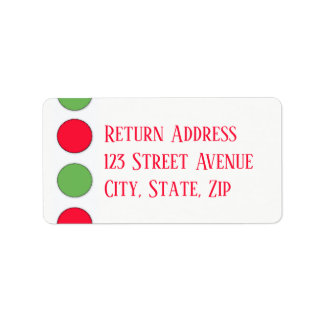 Big red and green dots Holiday Mailing Label