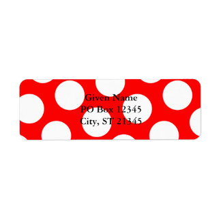 Big Red and White Polka Dots Return Address Label