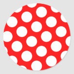 Big Red and White Polka Dots Round Stickers