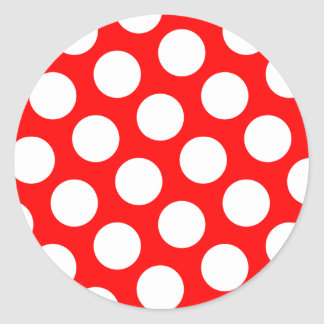 Big Red and White Polka Dots Classic Round Sticker