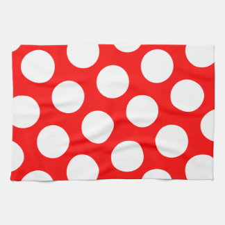 Big Red and White Polka Dots Tea Towel