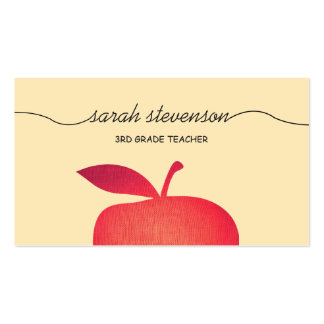 Big Red Apple Elementary School Teacher 3 Pack Of Standard Business Cards
