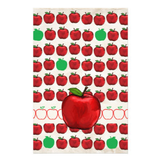 Big Red Apple on Apple Design with Red and Green A Custom Stationery