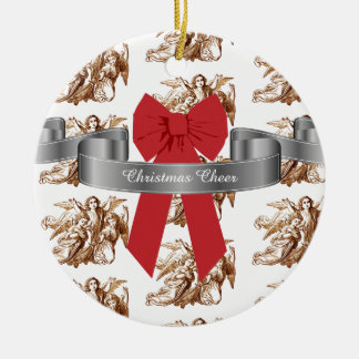 Big Red Bow and Angels Christmas Cheer Christmas Ornament
