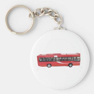 Big Red Bus Basic Round Button Key Ring