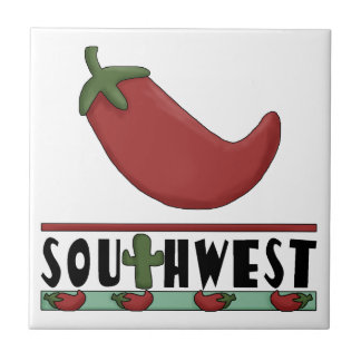 Big Red Chili Pepper and Cactus - Southwest Small Square Tile
