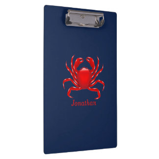 Big Red Crab on Blue Background Back to School Clipboard