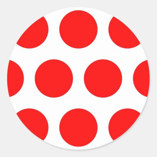 Big Red Dots Classic Round Sticker