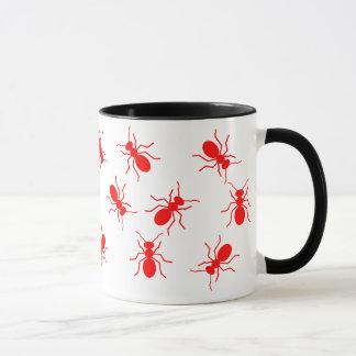 Big Red Fire Ants Swarm All Over Cartoon Mug